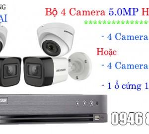 Giá lắp đặt trọn bộ 4 camera hikvision 5MP