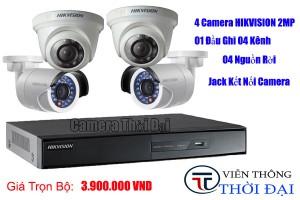 Trọn bộ 1 đầu ghi 4 camera hikvision 2mp giá rẻ
