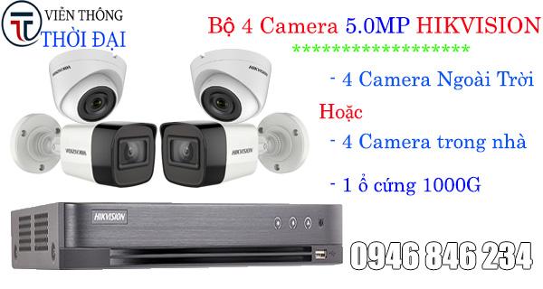 Giá lắp đặt trọn bộ 4 camera hikvision 5.0MP