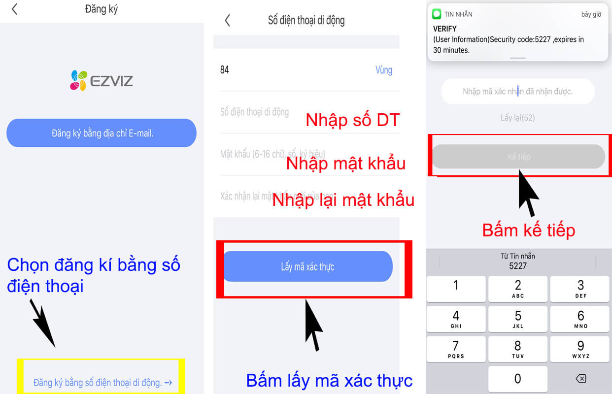 Nhập số điện thoại đăng kí tài khoản