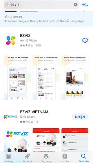 Vào cửa hàng tải về ứng dụng EZVIZ